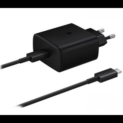 Official Samsung Φορτιστής Ταξιδιού Type - C σε Type - C με Καλώδιο Fast Charge 45W - Black (EP-TA845XBEGWW)