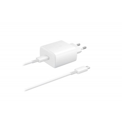 Official Samsung Φορτιστής Ταξιδιού Type - C σε Type - C με Καλώδιο Fast Charge 45W - White (EP-TA845XWEGWW)