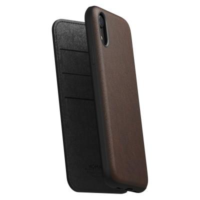 Nomad Δερμάτινη Rugged Folio Θήκη - Πορτοφόλι iPhone XR - Brown (NM21QR0H00)