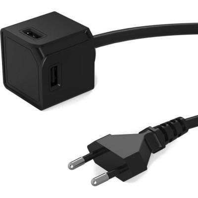 Allocacoc PowerCube |USBcube Extended USB A| Πολύπριζο 4 θέσεων USB-A - Μαύρο - 10464BK/EUEUMC (200-106-137)