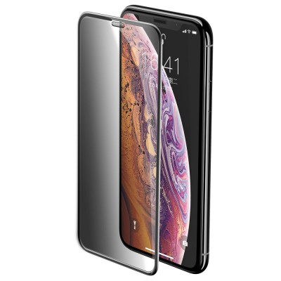 Baseus Full Cover 3D Curved Tempered Glass With Privacy Filter and Speaker Dust Protector για Apple iPhone 11 Pro / iPhone X/XS - Black (200-106-997)