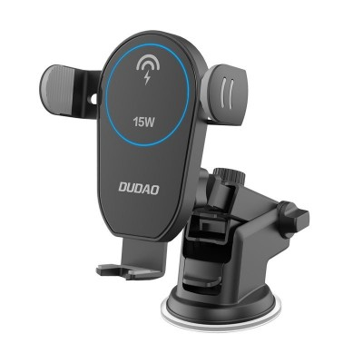 Dudao Wireless Qi Charger 15 W Gravity Car Mount Phone Holder with Adjustable Arm black (F1Pro μαύρο) (200-107-152)
