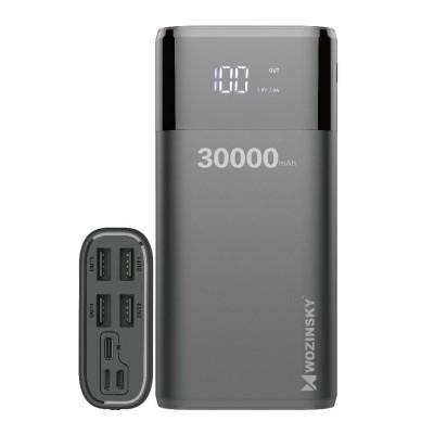 Wozinsky Power Bank 4x USB 30000mAh with Display 4A black WPB-001BK (200-107-867)