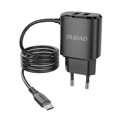 Dudao 2x USB-A & micro USB Wall Charger Μαύρο (A2ProM)  (200-107-868)