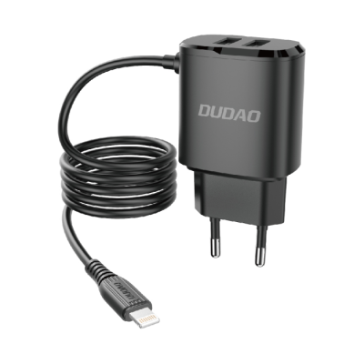 Dudao 2x USB wall charger with Dudao 2x USB wall charger with built-in Lightning 12 W cable black (A2ProL black) (200-107-871)-in Lightning 12 W cable black (A2ProL black) (200-107-870)
