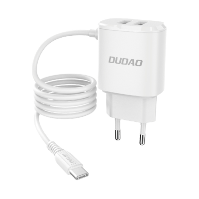 Dudao 2x USB wall charger with built-in USB Type C 12 W cable white (A2ProT ) (200-107-874)