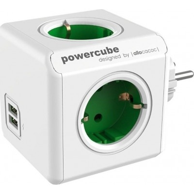 Allocacoc PowerCube Original USB - Πολύμπριζο - Πράσινο (200-108-023)