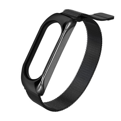 Replacment metal band bracelet strap for Xiaomi Mi Band 6 / Mi Band 5 / Mi Band 4 / Mi Band 3 black (200-108-376)