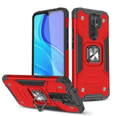 Wozinsky Ring Armor Case Kickstand Tough Rugged Cover for Xiaomi Redmi 9 Red (200-108-401)