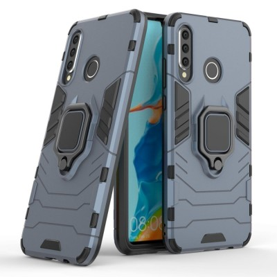 Ring Armor Case Kickstand Tough Rugged Cover for Huawei P30 Lite - Blue (200-108-496)