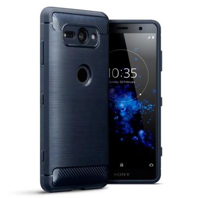Terrapin Θήκη Σιλικόνης Carbon Fibre Design Sony Xperia XZ2 Compact - Dark Blue
