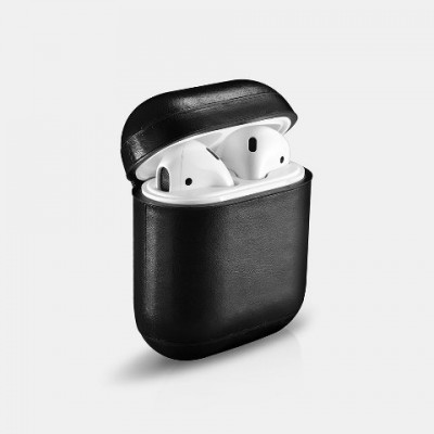 iCarer Leather AirPods Case Δερμάτινη Θήκη για Apple Airpods - Black (IAP 001/018)