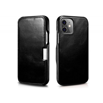 iCarer Vintage Series Side-Open Δερμάτινη Θήκη iPhone 12 / 12 Pro - Black (RIX 1210)