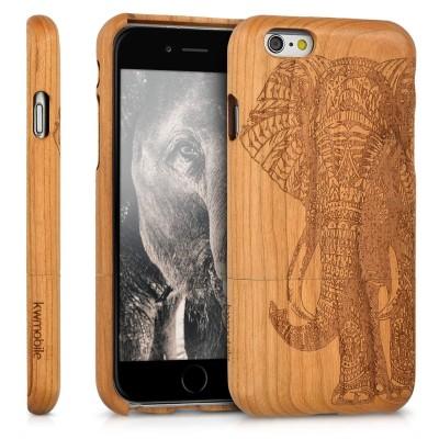 Ξύλινη θήκη για iPhone 6/6s Elephant Motif Design Ανοιχτό Καφέ by KW (200-105-805)