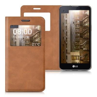 Θήκη- πορτοφόλι για LG X Screen by KW καφέ