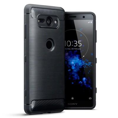 Terrapin Θήκη Σιλικόνης Carbon Fibre Design Sony Xperia XZ2 Compact - Black