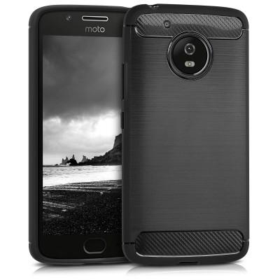Θήκη Brushed Carbon μαύρη για Motorola Moto G5