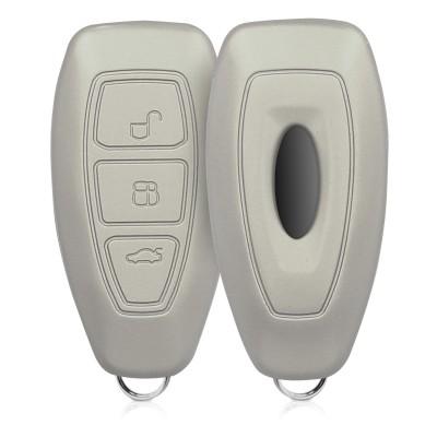 KW Θήκη κλειδιού Ford - Σιλικόνη - 3 Κουμπιά - Metallic Silver (41621.67)