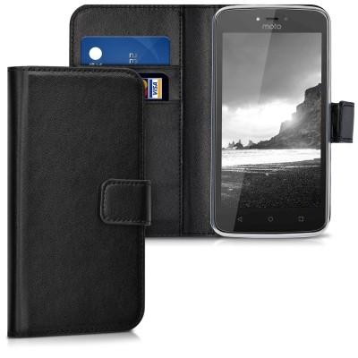 Θήκη-Πορτοφόλι για Motorola Moto C μαύρη by KW