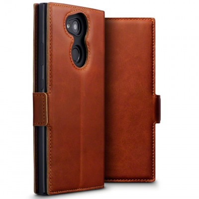 Terrapin Low Profile Δερμάτινη Θήκη - Πορτοφόλι Sony Xperia L2 - Cognac (