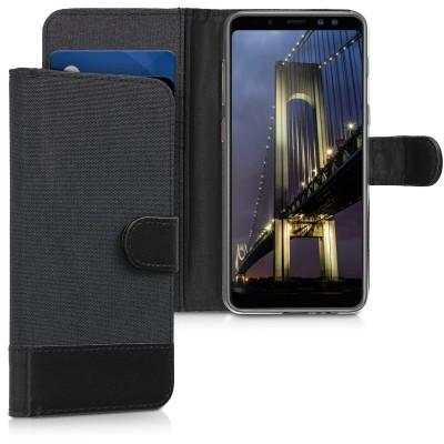 Θήκη-Πορτοφόλι για Samsung Galaxy A8(2018) Μαύρο Ανθρακί