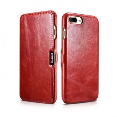iCarer Vintage Series Side-Open Δερμάτινη Θήκη iPhone 8 Plus / iPhone 7 Plus - Red (RIP 7002)