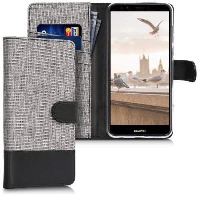Θήκη-Πορτοφόλι για Huawei Y7 (2018)/Y7 Prime (2018) γκρι
