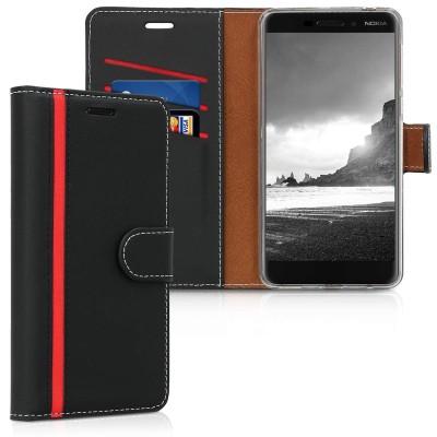 Θήκη-Πορτοφόλι για Nokia 6(2018) Μαύρο-κόκκινο