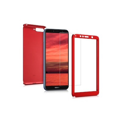 360 Full Cover Case & Tempered Glass For Huawei Y6 (2018) Red - (46-60956)