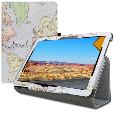 Θήκη-smart cover με stand για Huawei MediaPad T5 10 World Map by KW (200-105-027)
