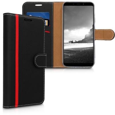 Θήκη-Πορτοφόλι για Xiaomi Redmi 6 Pro/Mi A2 Lite Μαύρο-κόκκινο