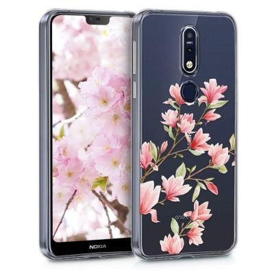KW Θήκη Σιλικόνης Nokia 7.1 (2018) - Magnolias light pink / white / transparent (200-104-297)