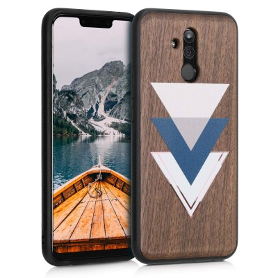 Ξύλινη θήκη για Huawei Mate 20 Lite - Wood and Triangles dark blue / dusty pink / dark brown by KW (200-106-054)