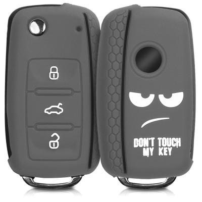 KW Θήκη Κλειδιού VW / Skoda / Seat - Σιλικόνη - 3 Κουμπιά - White / Light Grey / Black (200-104-817)