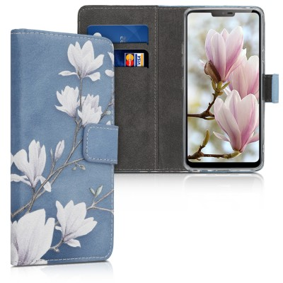Θήκη-Πορτοφόλι για LG G7 ThinQ  - Magnolias taupe / white / blue grey by KW (200-105-044)