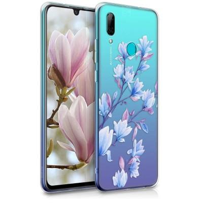Θήκη Σιλικόνης Διάφανη Huawei P Smart (2019) - Magnolias Blue/Violet/Transparent by KW (200-104-819)