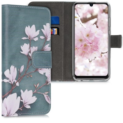 Θήκη-Πορτοφόλι για Huawei P Smart (2019) - Magnolias taupe / white / blue grey by KW (200-104-825)