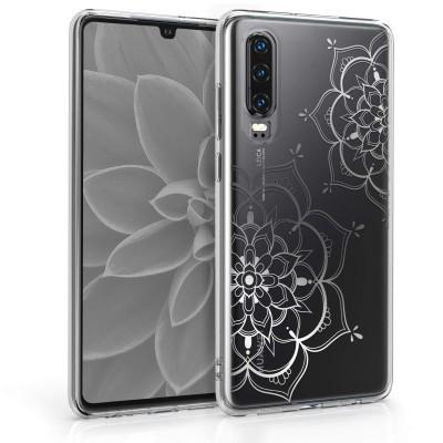 Θήκη Σιλικόνης για Huawei P30 Flower Twins Rose Silver/Transparent by KW (200-105-035)