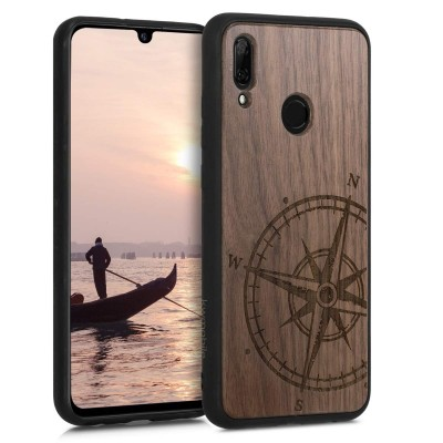 KW Σκληρή ξύλινη θήκη Huawei P Smart (2019) - Navigational Compass dark brown (200-104-816)
