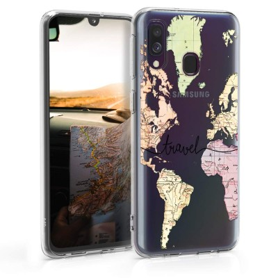 KW Θήκη Σιλικόνης Samsung Galaxy A40 - World Map Travel Black/Multicolor/Transparent (200-105-483)