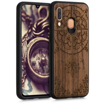 Ξύλινη θήκη για Samsung Galaxy A40 - Baroque Compass Dark Brown by KW (200-104-366)