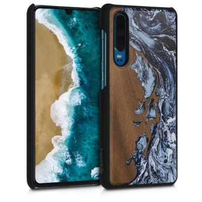 KW Σκληρή Ξύλινη Θήκη Huawei P30 - Watercolor Waves White / Black / Brown (200-105-176)