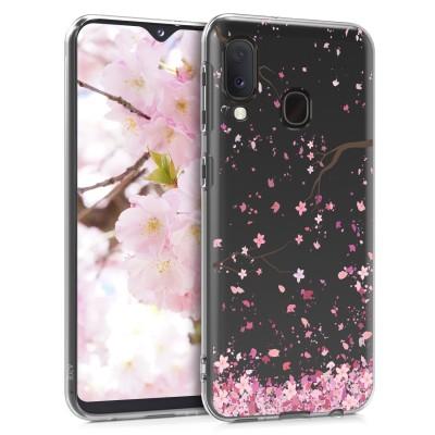 KW Θήκη Σιλικόνης για Samsung Galaxy A20e - Cherry Blossoms Light Pink / Dark Brown / Transparent (200-104-720)