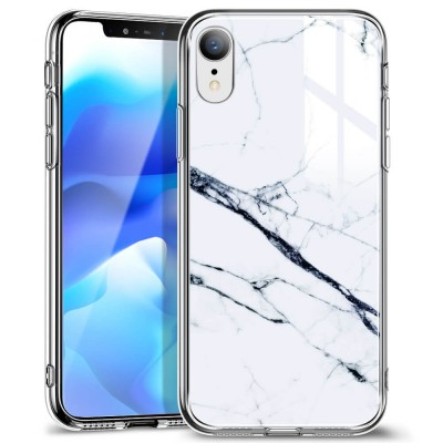 ESR iPhone XR Mimic Tempered Glass Case Marble White Sierra