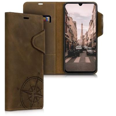 Kalibri Δερμάτινη Suede Θήκη Πορτοφόλι Samsung Galaxy A70 - Navigational Compass Brown (200-104-364)