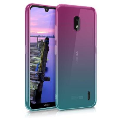 Θήκη Σιλικόνης για Nokia 2.2 - Bicolor dark pink / blue / transparent by KW (200-104-563)