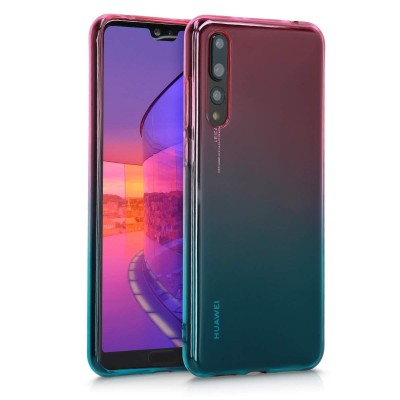 Θήκη Σιλικόνης για Huawei P20 Pro - Bicolor dark pink / blue / transparent by KW (200-106-521)