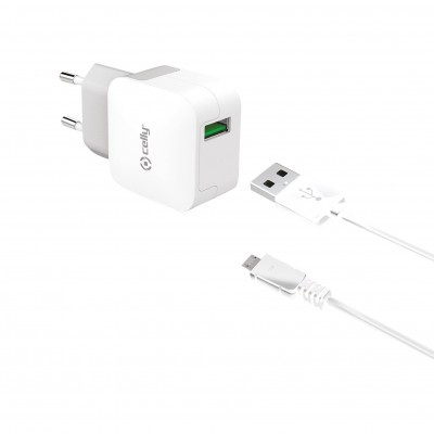 Celly Travel Adapter 2.4A - Φορτιστής MicroUSB - White (TCUSBMICRO)