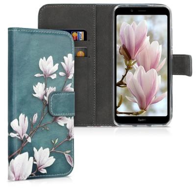 Θήκη-Πορτοφόλι για Xiaomi Redmi 7A - Magnolias taupe / white / blue grey by KW (200-104-483)