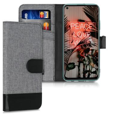 Θήκη πορτοφόλι Γκρι/Μαύρη για Huawei P40 Lite by KW (200-105-646)